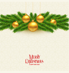 Elegant christmas tree leaves and golden balls vector