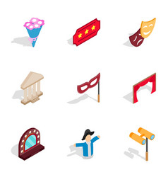 entertainment icons isometric 3d style vector image