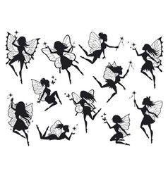 Fairy silhouettes magical fairies with wings vector