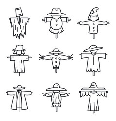 Farm scarecrow icons set outline style vector