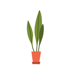 flat doodle home green long abstract plant vector image