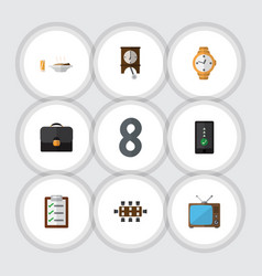 Flat icon life set of questionnaire lunch clock vector