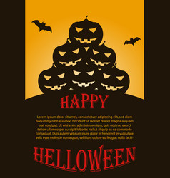 flyer with dark halloween pumpkins vector image