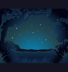 Forest scene at night vector