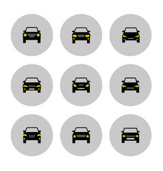 Front view cars icon with yellow lights vector