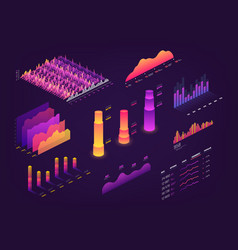 Futuristic 3d isometric data graphic business vector