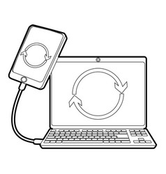 Gadgets synchronized operation icon outline style vector
