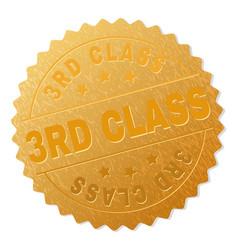 Golden 3rd class medal stamp vector
