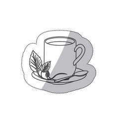 Grayscale contour sticker of hot mug of tea vector