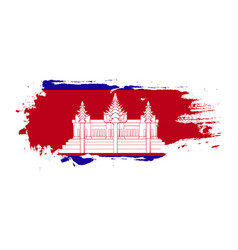 Grunge brush stroke with cambodia national flag vector