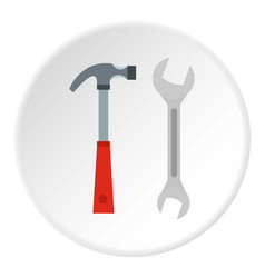 Hammer and wrench icon circle vector