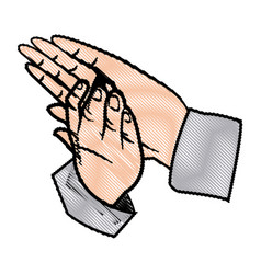Hands man clapping applause gesture vector