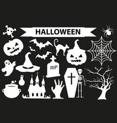 happy halloween icons set black silhouette style vector image