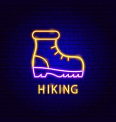 hiking neon label vector image