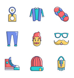 hipster type icons set flat style vector image
