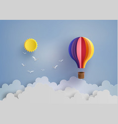 Hot air balloon and cloud vector
