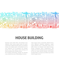 house building line template vector image