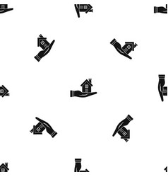 house in hand pattern seamless black vector image