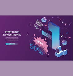 isometric free discount coupons online shopping m vector image