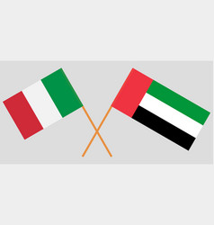 Italy and united arab emirates flags vector