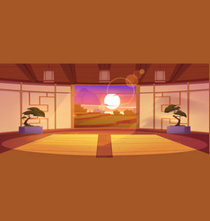 Japanese dojo interior at sunset vector