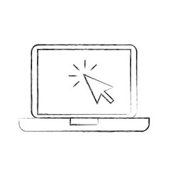 laptop technology arrow cursor point select vector image