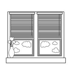 Line window with blind curtain and fower inside vector