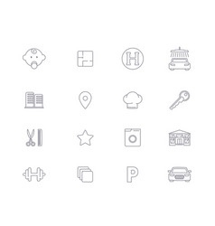 Linear icons infrastructure residential complex vector