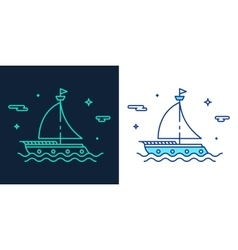 Linear style icon of a boat vector