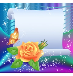 Magic background with paper and rose vector image