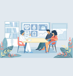 man and pregnant woman sitting at doctor cabinet vector image