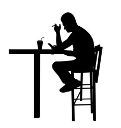 man silhouette sitting at a table in cafe bar vector image