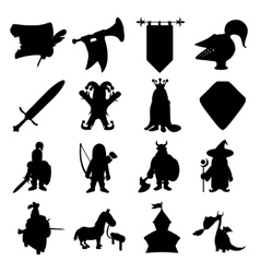 medieval silhouettes icons set vector image