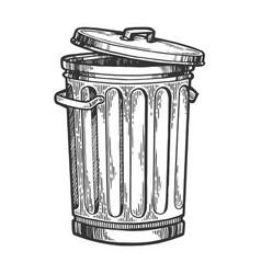 Metal trash can sketch engraving vector