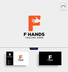 Minimal f letter initial hand logo template icon vector