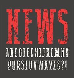 Narrow slab serif font with shabby texture vector