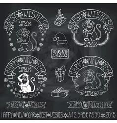 New Year 2016 Monkey labelsdecorationChalkboard vector