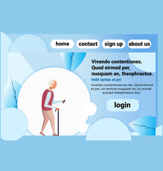 old man walking stick chat bubble using smartphone vector image
