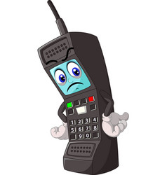 Old telephone with angry react face cartoon vector