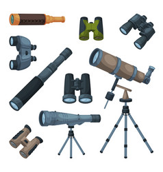 Optical devices collection binoculars spyglass vector