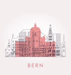 outline bern skyline with landmarks vector image
