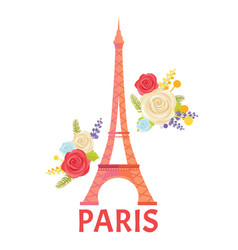 paris poster with blooming flower and eiffel tower vector image