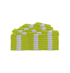 pile of stacked cash green banknotes paper money vector image