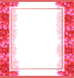 pink dahlia banner card border style 2 vector image