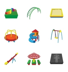 Play in yard icons set cartoon style vector image
