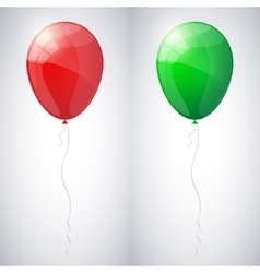 Red and green shiny glossy balloons vector