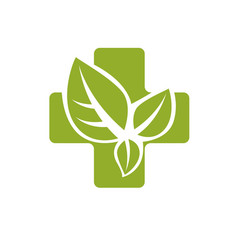Religious christianity cross composed with green vector