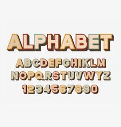 retro font and alphabet vector image