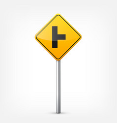 Road yellow signs collection isolated on white vector