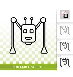 robot spider simple black line icon vector image